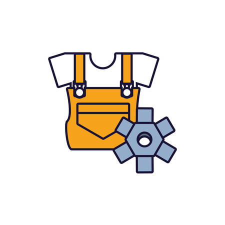 overall uniform construction with gear vector illustration design
