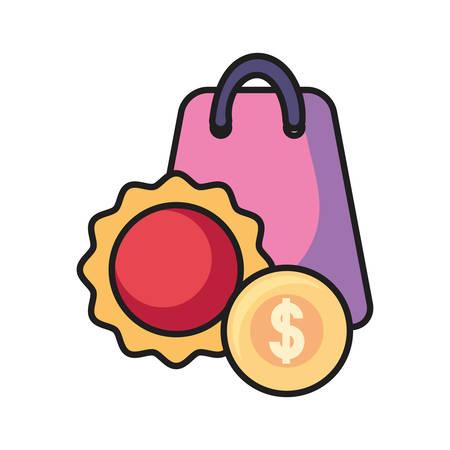 online shopping bag money label vector illustration
