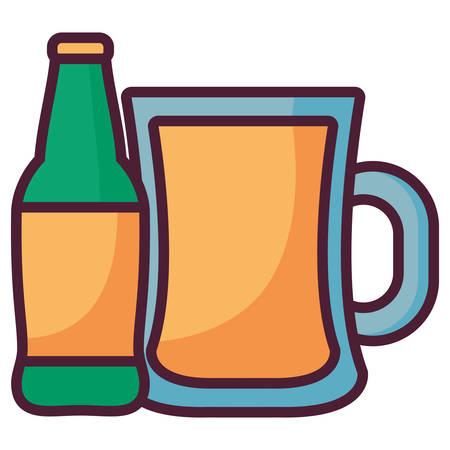 beer jar with bottle vector illustration design