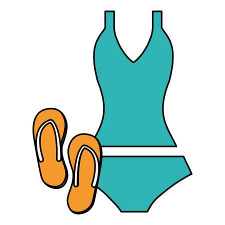 female swimsuit bikini with flip flops vector illustration design