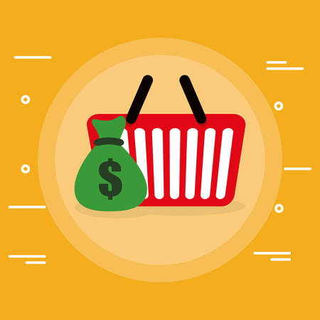 shopping basket with money bag vector illustration design