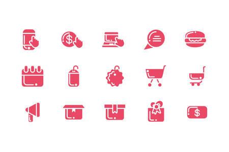 bundle of electronic commerce with icons set vector illustration design Иллюстрация