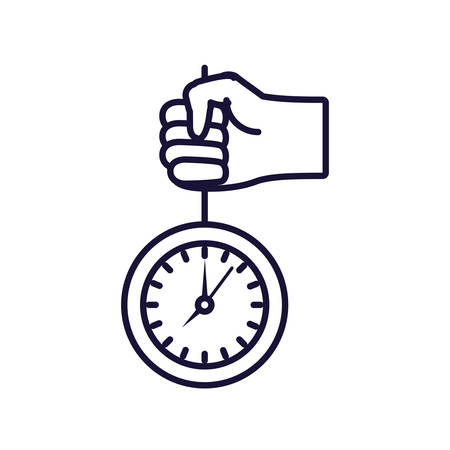 hand with clock time isolated icon vector illustration design