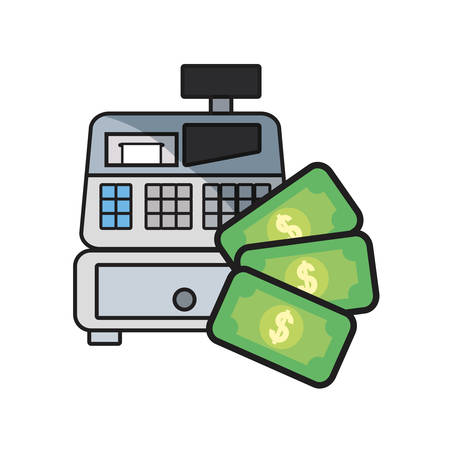 online shopping cash register money vector illustration