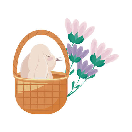 cute rabbit in basket wicker with flowers vector illustration design Illusztráció