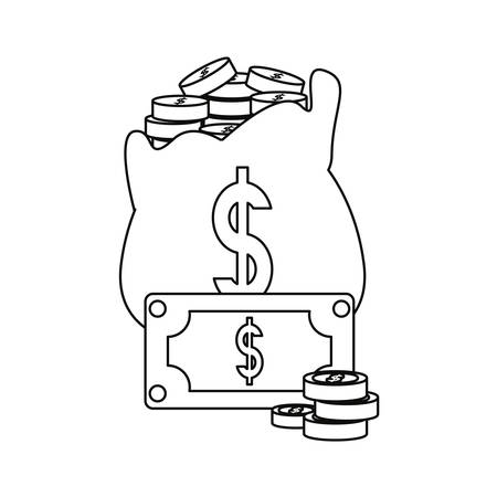 money bag coins stacked banknote banking vector illustration