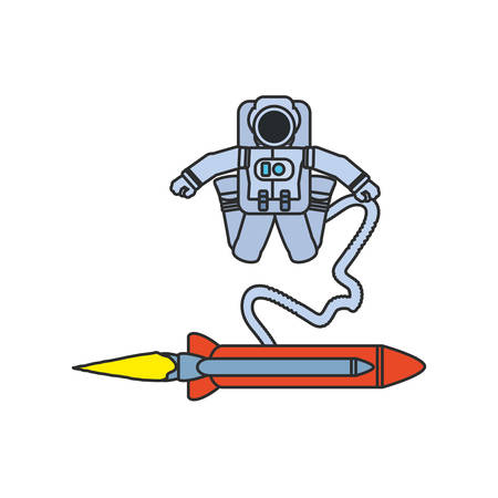 astronaut suit with hose and rocket isolated icon vector illustration design