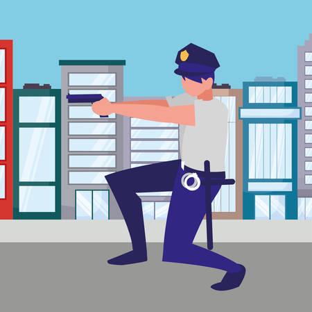 avatar policemen watching over white background, vector illustration