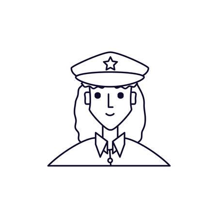 police officer female avatar character vector illustration design Çizim