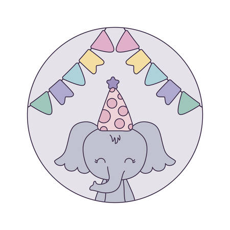 cute elephant with hat party in frame circular vector illustration design Foto de archivo - 133361463