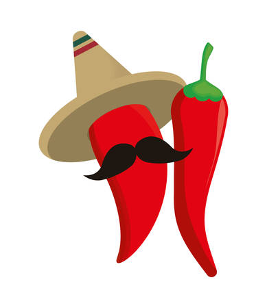 chili peppers with moustache and hat mexican vector illustration design