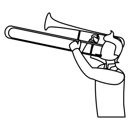 musician playing trumpet character vector illustration design  イラスト・ベクター素材