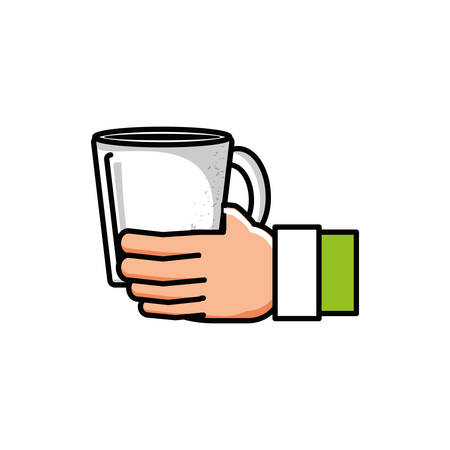 hand with coffee cup character vector illustration design Stok Fotoğraf - 133361478