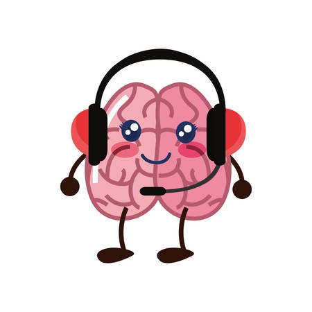 brain cartoon headphones microphone creativity vector illustration 일러스트