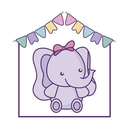 cute little elephant baby with garlands hanging vector illustration design Foto de archivo - 133387415
