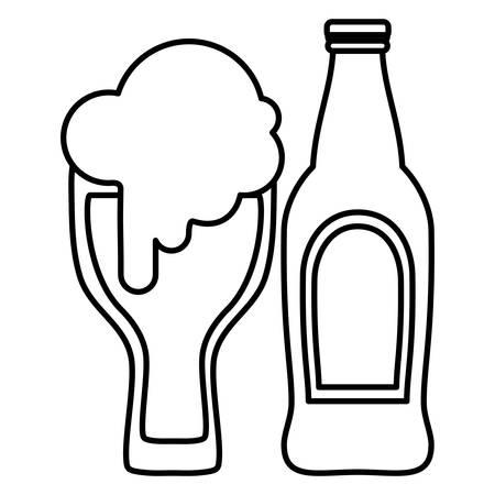 beer glass with bottle vector illustration design Illustration