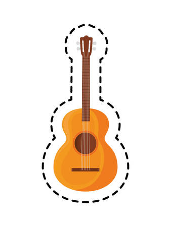 patch of guitar instrument music mexican isolated icon vector illustration design Иллюстрация
