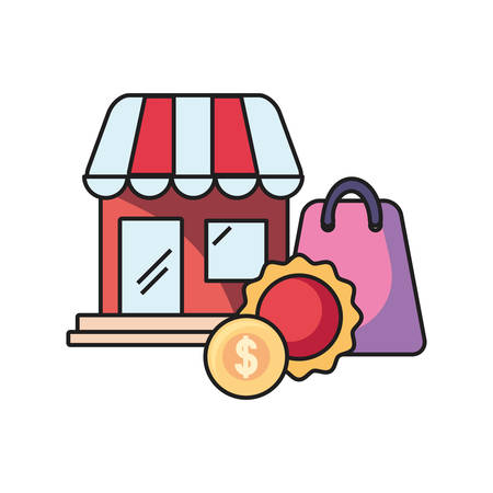 online shopping market money bag label on white background vector illustration Illustration