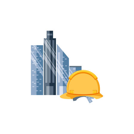 helmet construction protection with cityscape vector illustration design