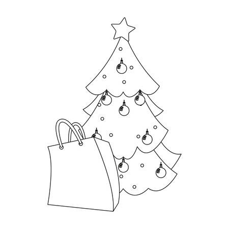 christmas tree and paper bag decoration vector illustration