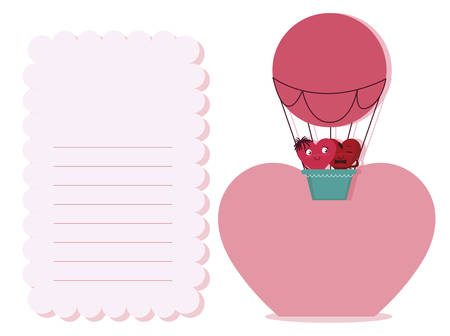 couple hearts in balloon air hot kawaii characters vector illustration design Standard-Bild - 133140306