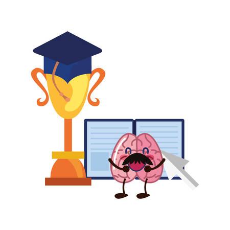 brain cartoon education trophy book graduation hat vector illustration