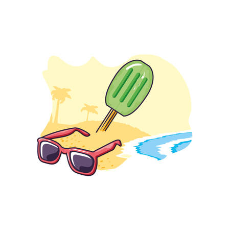ice cream with stick in the beach and sunglasses vector illustration design