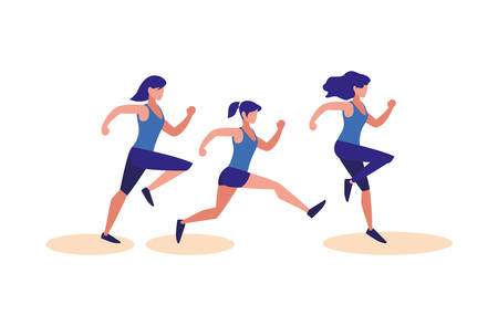Women running design, Healthy lifestyle Fitness bodybuilding bodycare activity and exercisetheme Vector illustration