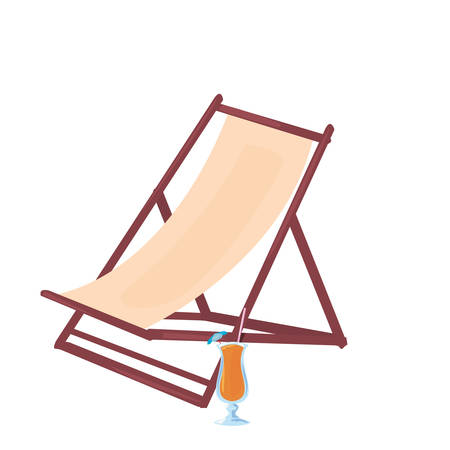 summer time holiday beach chair and cocktail vector illustration  イラスト・ベクター素材