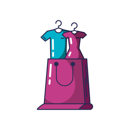 clothing hanging in clothespin with shopping bag vector illustration design Stock Illustratie