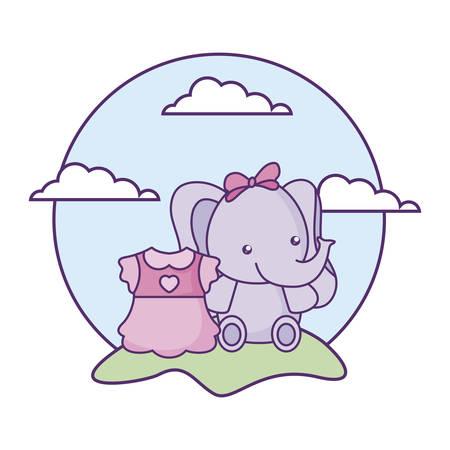 cute little elephant baby with dress girl in landscape vector illustration design Foto de archivo - 133395582