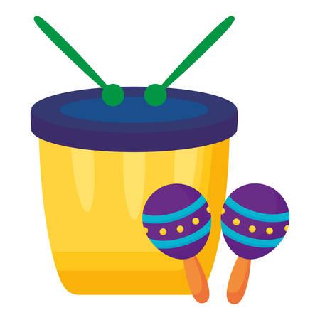 carnival bongo with maracas instruments vector illustration design Фото со стока - 133395583