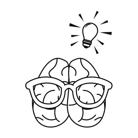 human brain using eyeglasses creativity cartoon vector illustration