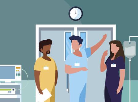 interracial group medicine workers in operating theater vector illustration design Stock Illustratie