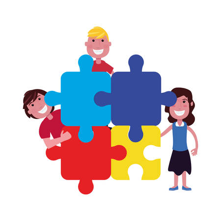 happy boy and girl jigsaw pieces autism awareness day vector illustration