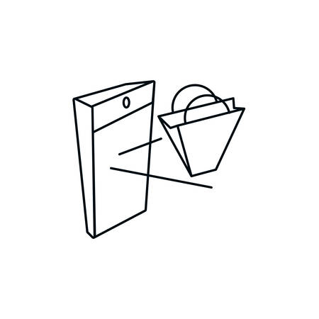 shopping bag with smartphone device vector illustration design Illustration