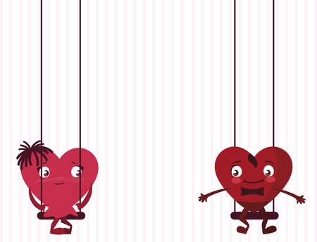 couple hearts in swing characters vector illustration design Standard-Bild - 133153232