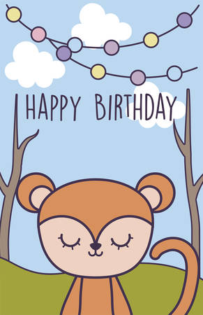 happy birthday card with cute monkey in landscape vector illustration design