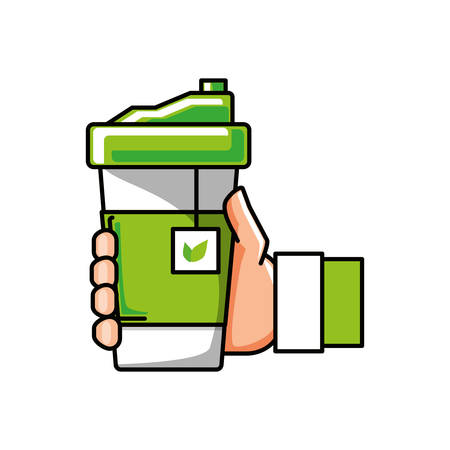 hand with container plastic of tea herb vector illustration design Stock fotó - 133399369