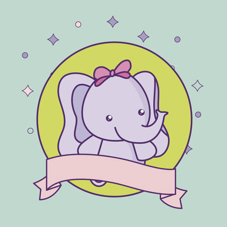 cute little elephant baby with ribbon vector illustration design Foto de archivo - 133400599