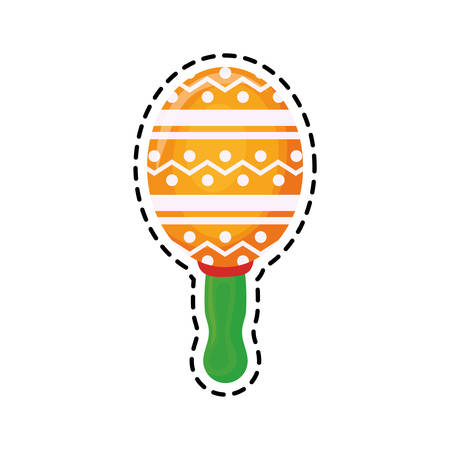 patch of maraca instrument mexican isolated icon vector illustration design