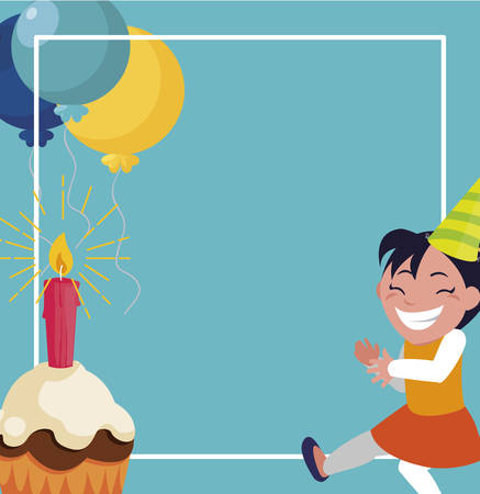 happy girl with birthday balloons helium and cupcake vector illustration design