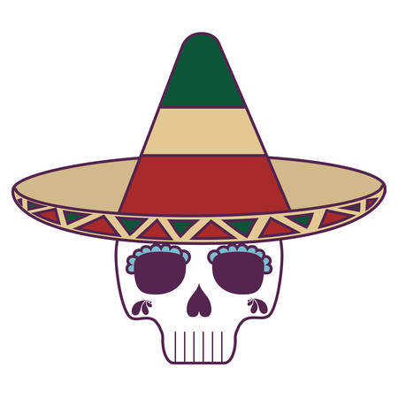 skull death with hat traditional mexican vector illustration design