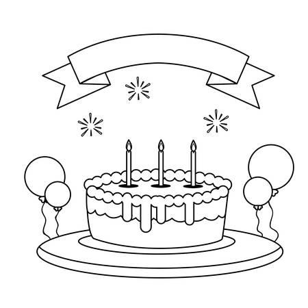 sweet cake birthday with balloons helium vector illustration design Stock Vector - 133179163