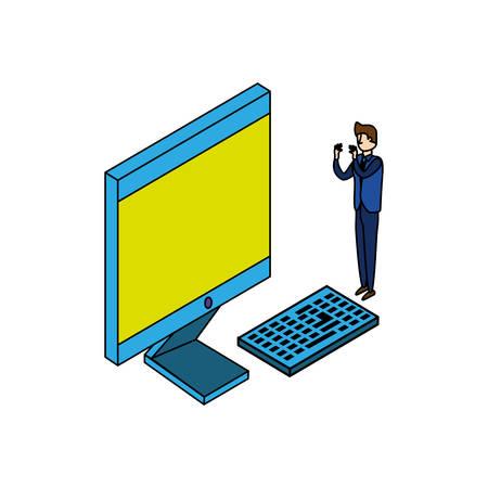 businessman worker with display computer vector illustration design 일러스트