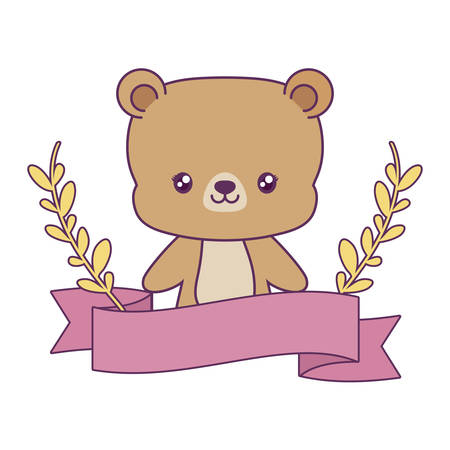 cute bear with ribbon and branches of leafs vector illustration design