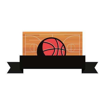 basketball sport ball court floor vector illustration