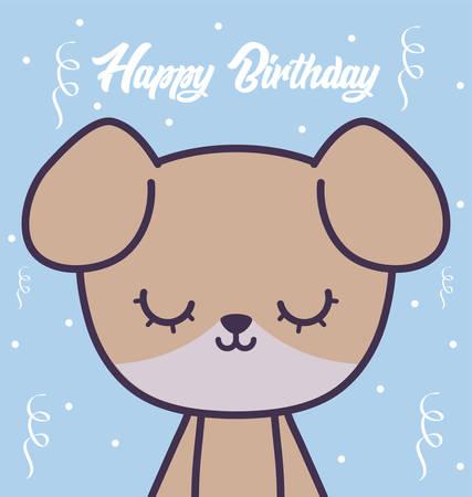 happy birthday card with cute dog vector illustration design Ilustrace
