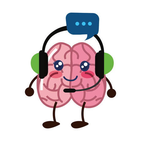 brain cartoon headphones speech bubble creativity vector illustration