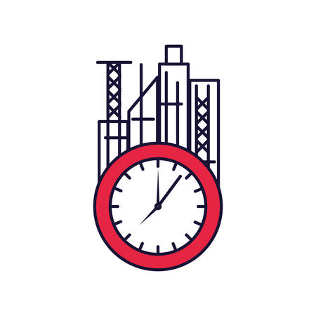 clock time with cityscape vector illustration design